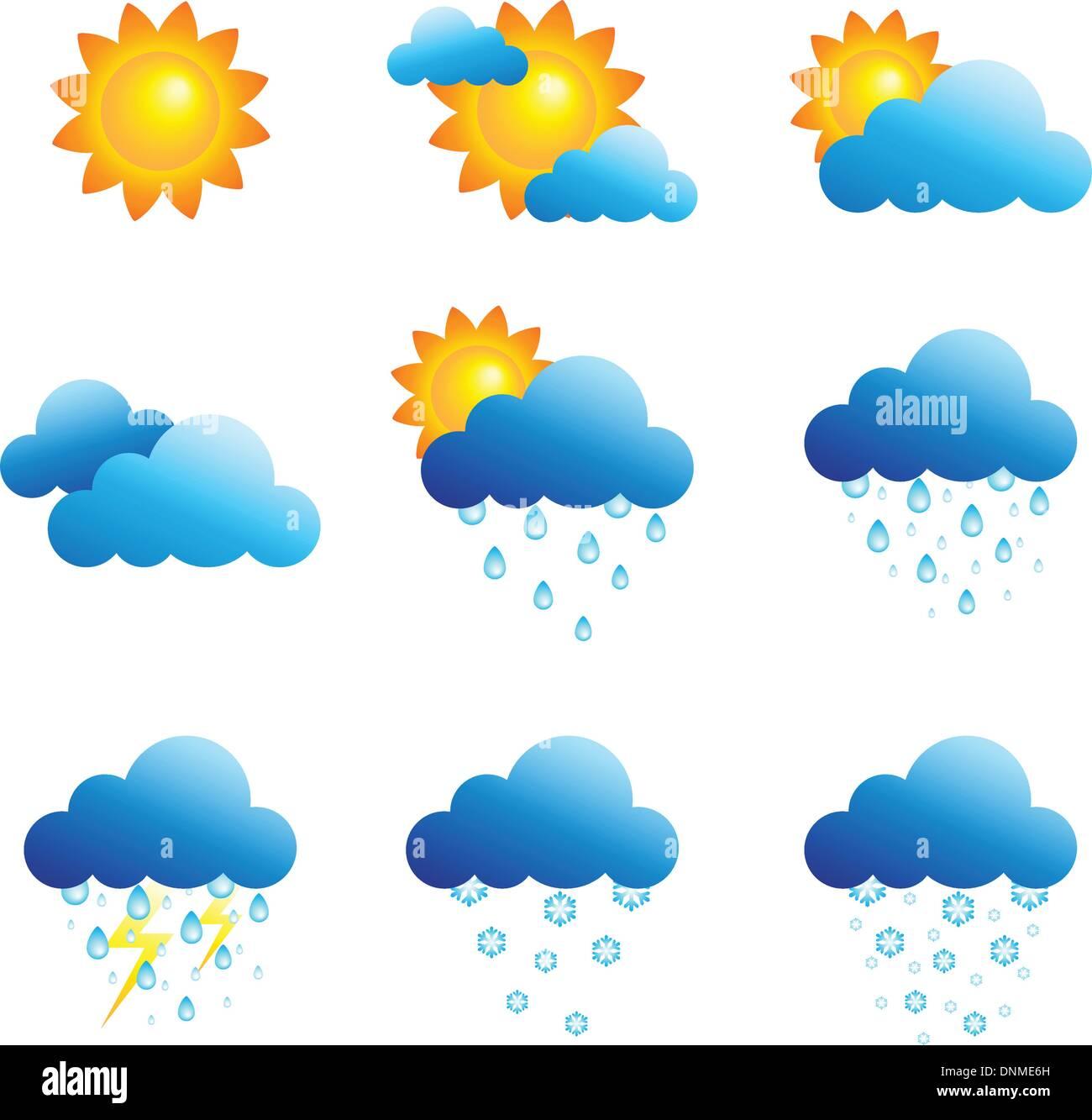 Una illustrazione vettoriale di diverse icone meteo Immagini Stock