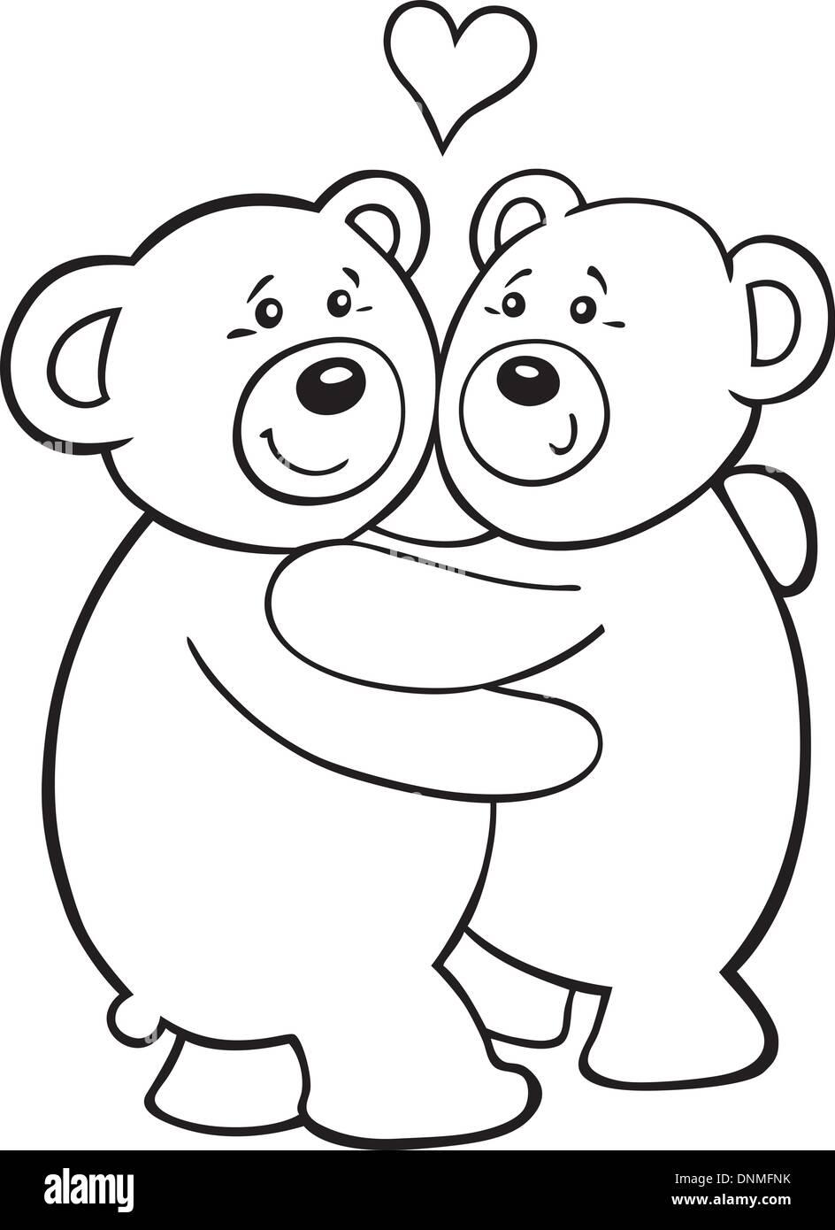 Illustrazione Di Orsetti In Amore Per Il Libro Da Colorare