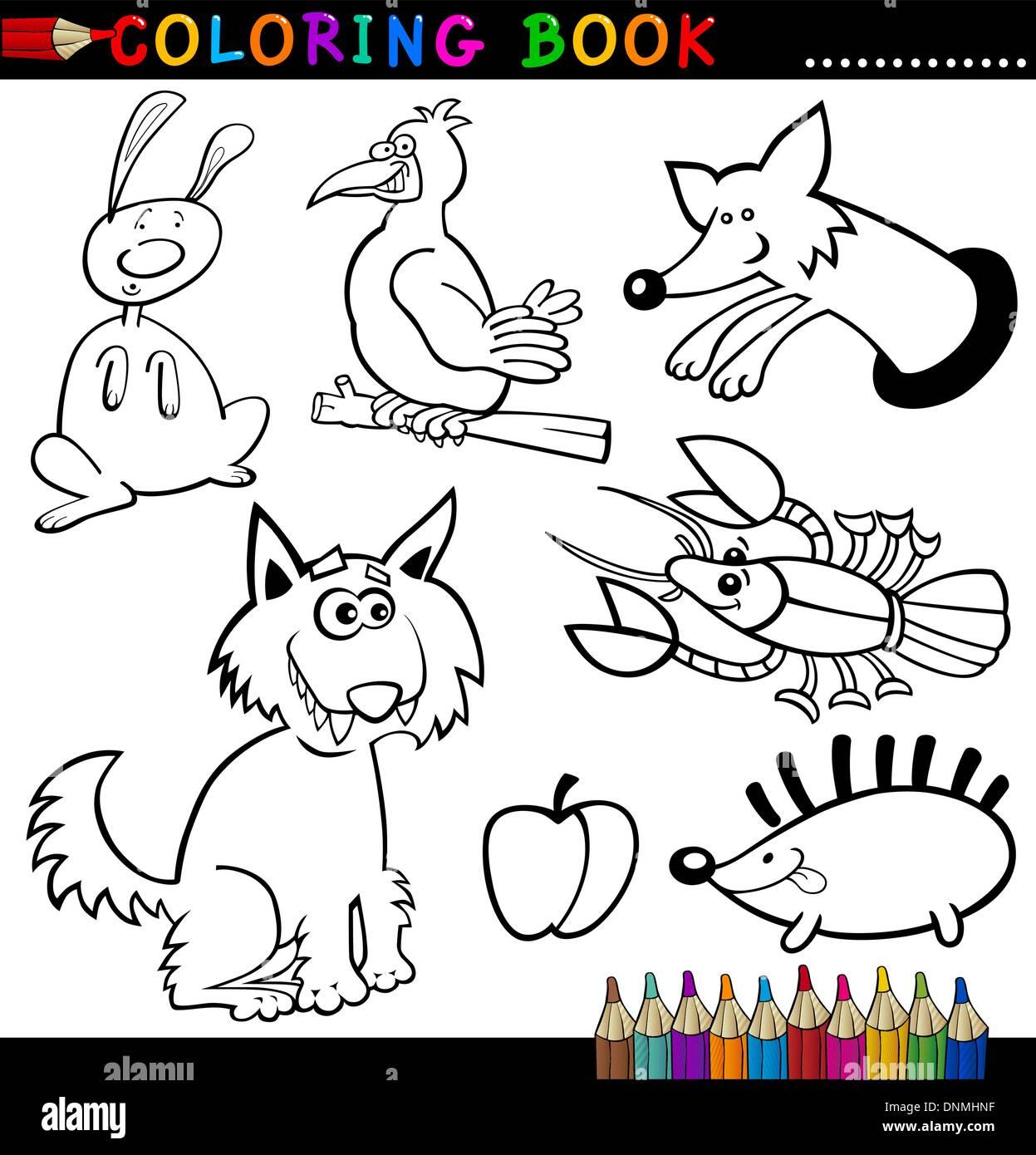 Libro Da Colorare O Pagina Cartoon Illustrazione Di Divertenti