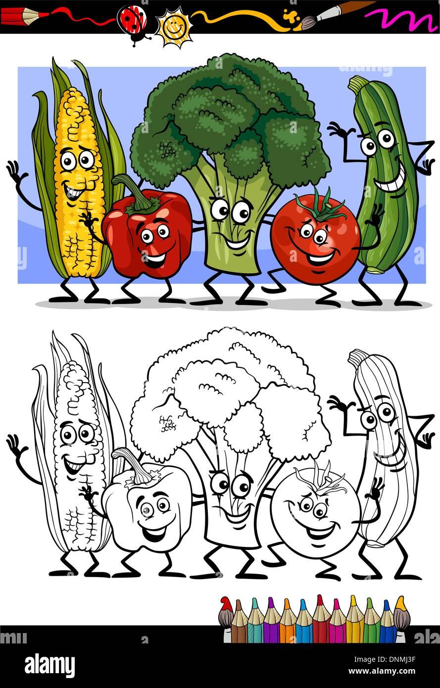 Libro Da Colorare O Pagina Umorismo Cartoon Illustrazione Del