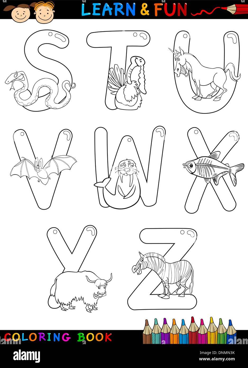 Alfabeto Cartoon Libro Da Colorare O Pagina Impostati Con Animali Divertenti Per Bambini Educazione E Divertimento Immagine E Vettoriale Alamy