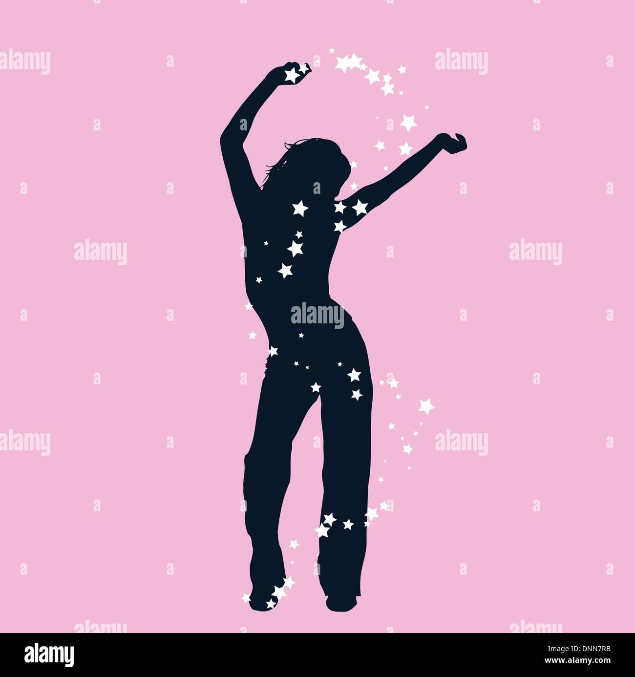 Silhouette di una femmina di dancing Immagini Stock