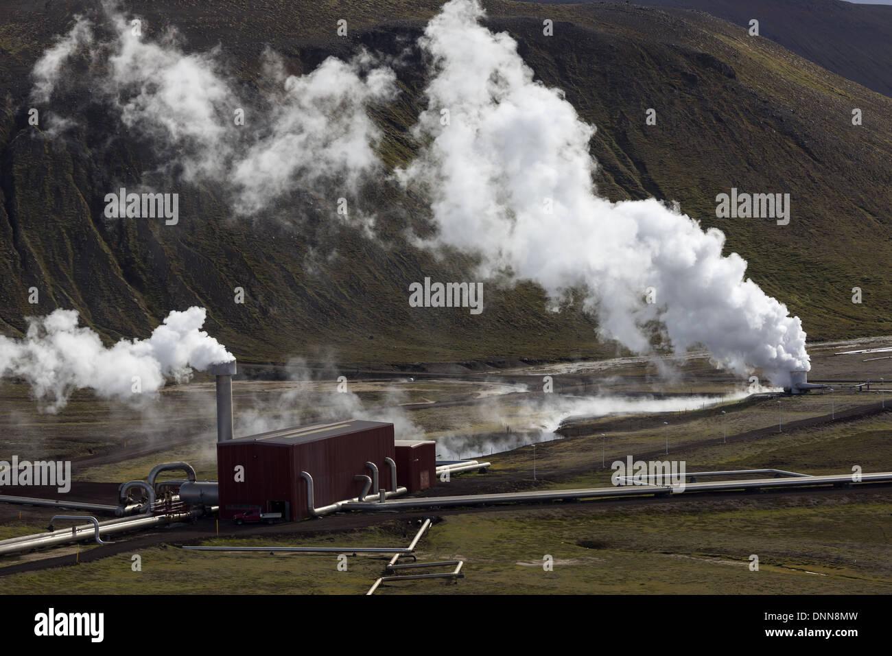 Il Krafla Power Station è a 60 MW Stazione Elettrica Geotermica si trova vicino al vulcano Krafla in Islanda. Immagini Stock