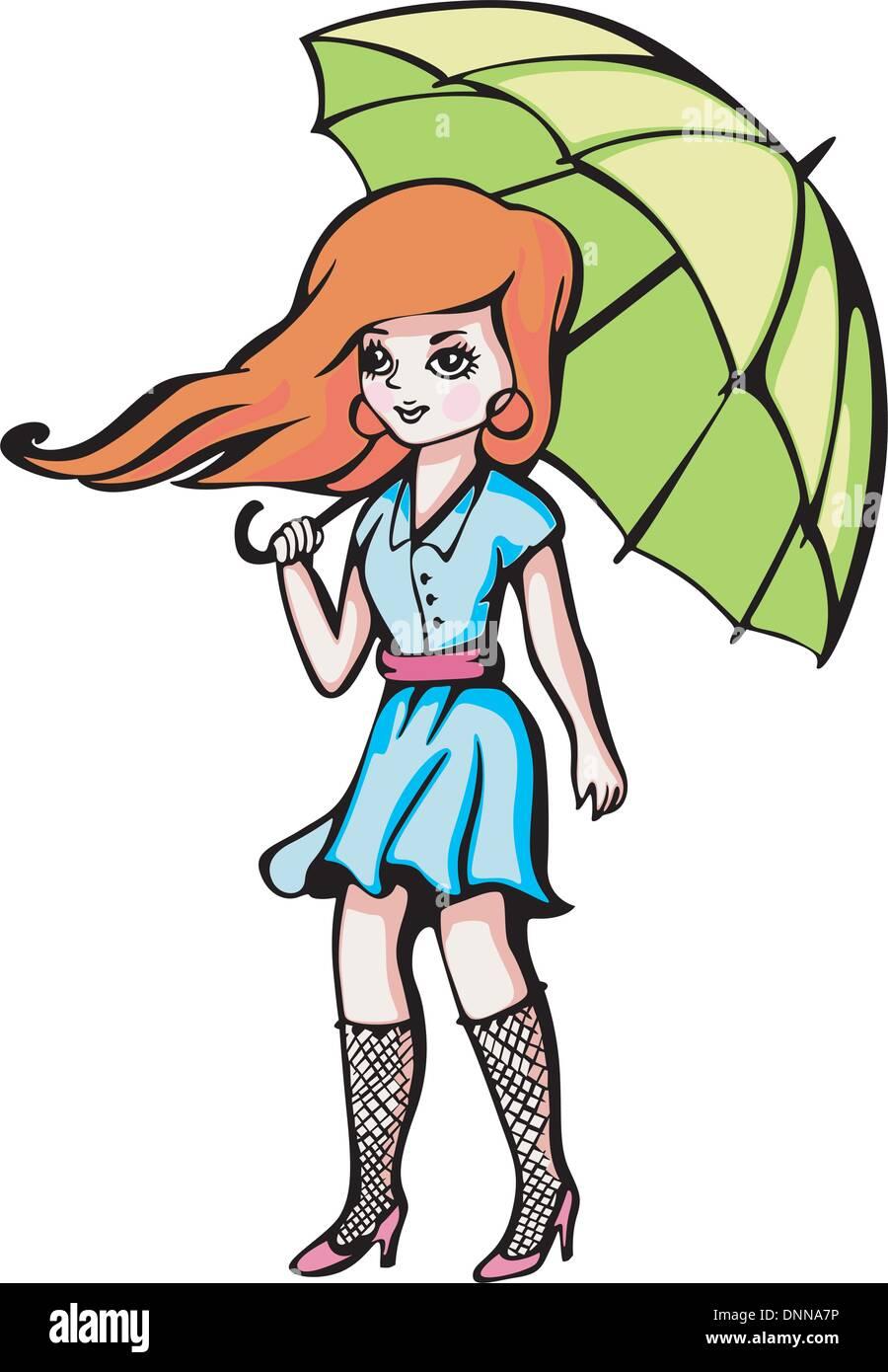 Ragazza giovane con ombrello. Colore illustrazione vettoriale. Immagini Stock