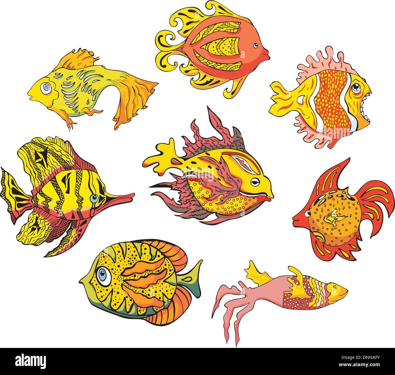 Motley pesci tropicali. Impostare il colore di illustrazioni vettoriali. Immagini Stock