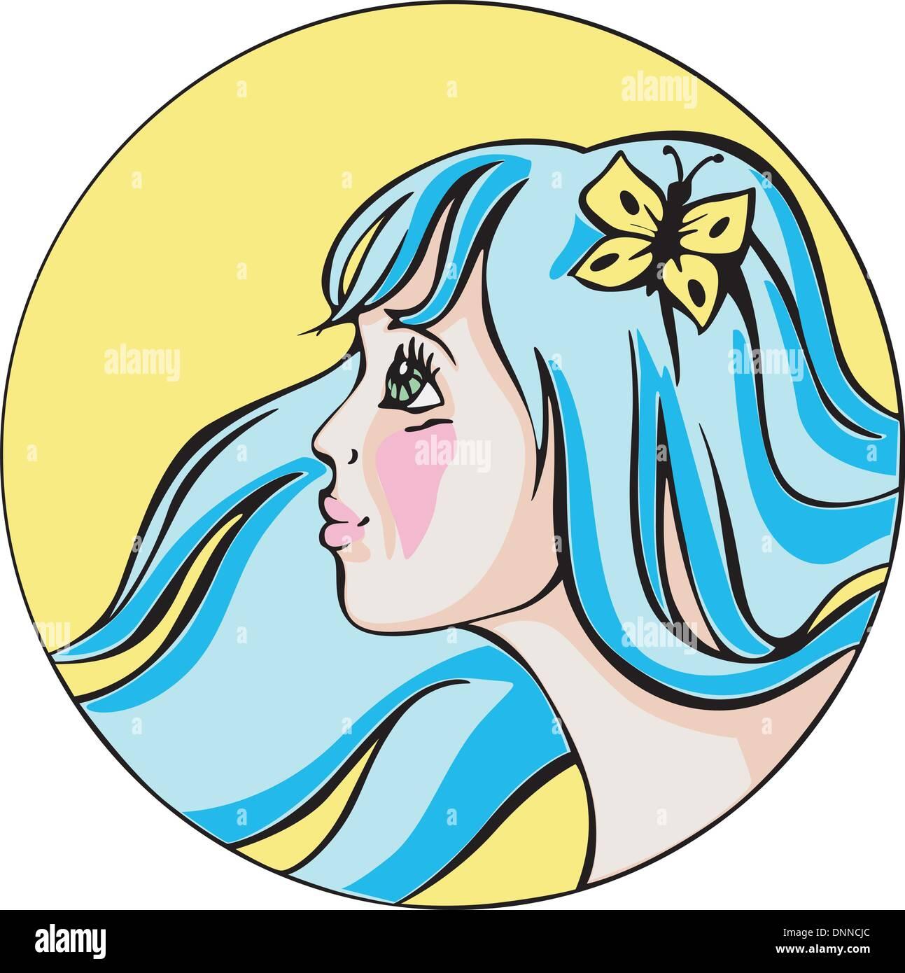 Round Ritratto di giovane carino redhead donna con capelli blu. Colorata illustrazione vettoriale. Immagini Stock