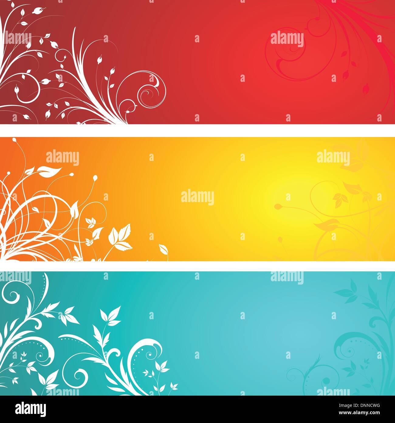 Diversi progettati pannelli floreali Immagini Stock