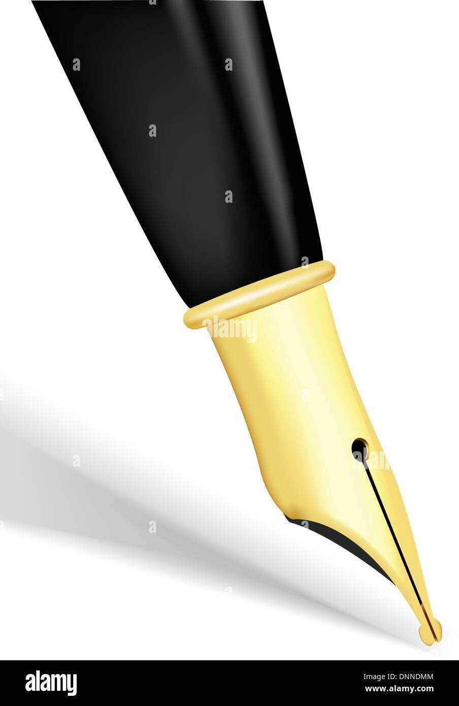 Close up di un pennino in oro di una penna stilografica Immagini Stock