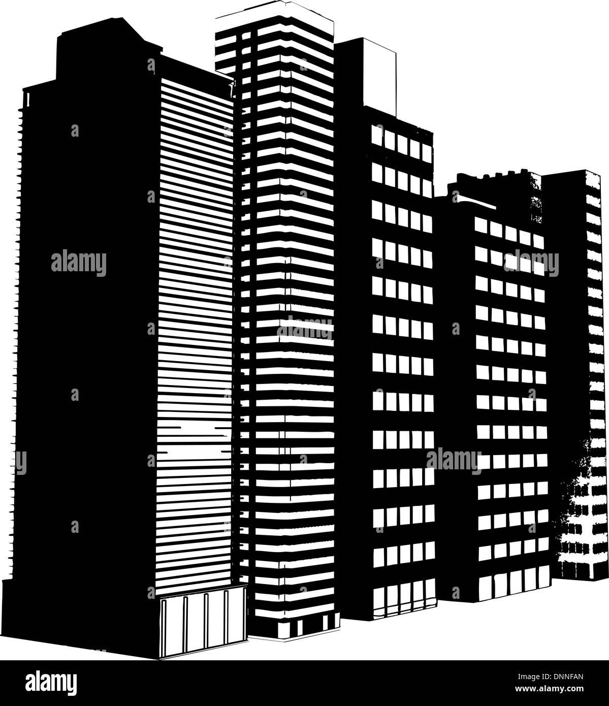 Grunge stile degli edifici Immagini Stock