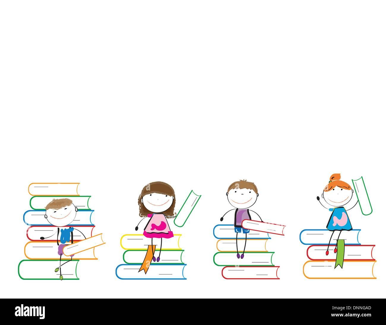 Felici i bambini colorati su molti libri colorati Immagini Stock