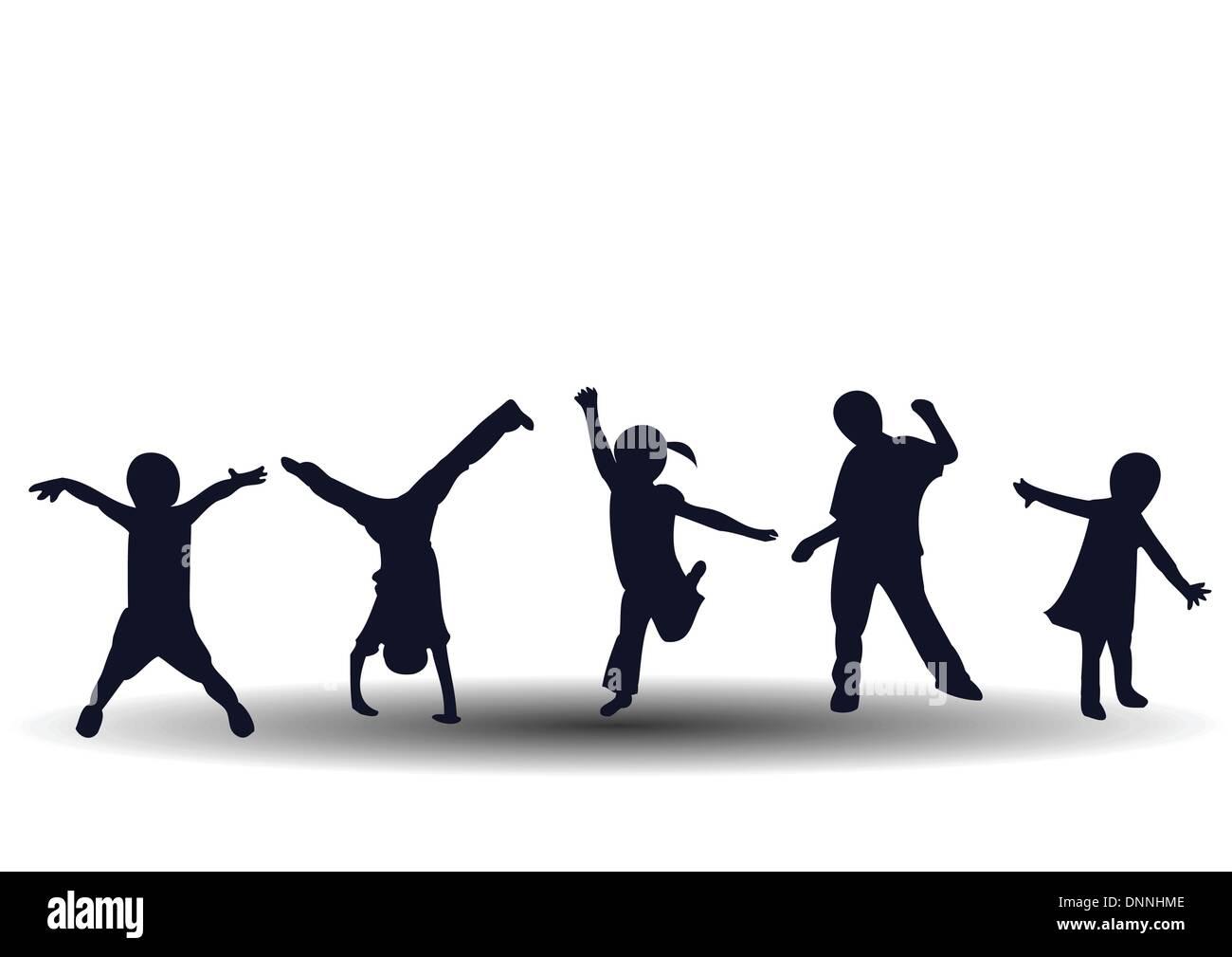 A saltare e giocare felici i bambini Immagini Stock