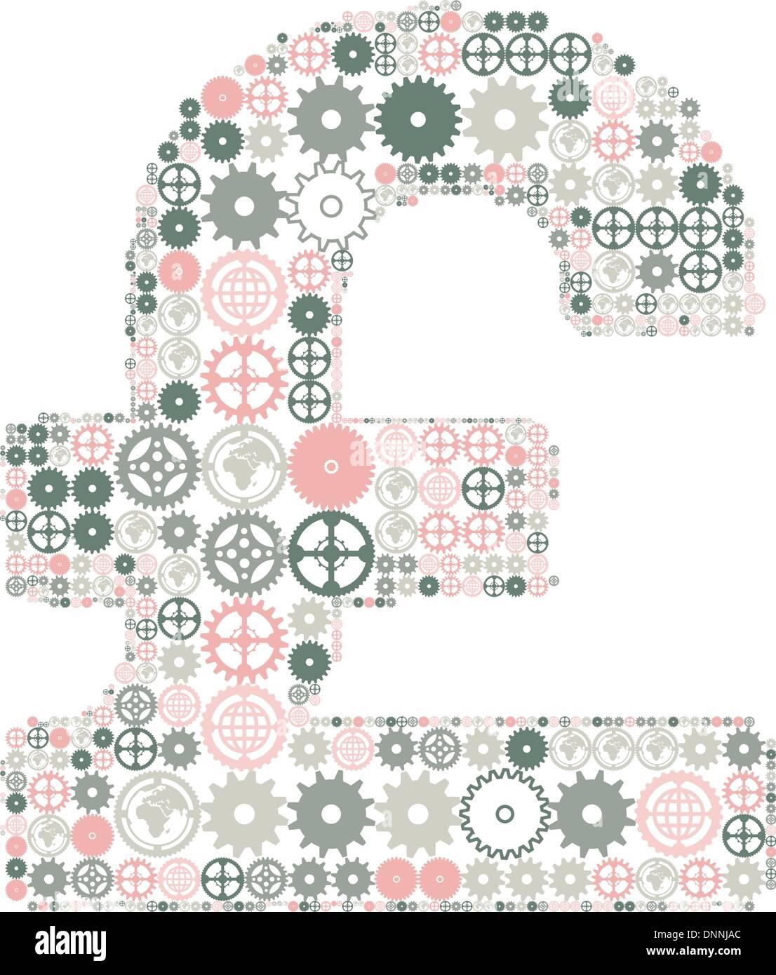 Sterlina britannica segno su uno sfondo bianco, fatta di ingranaggi colorati. Illustrazione Vettoriale Immagini Stock