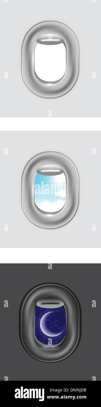 Le nuvole e il cielo come visto attraverso la finestra di un aeromobile Immagini Stock