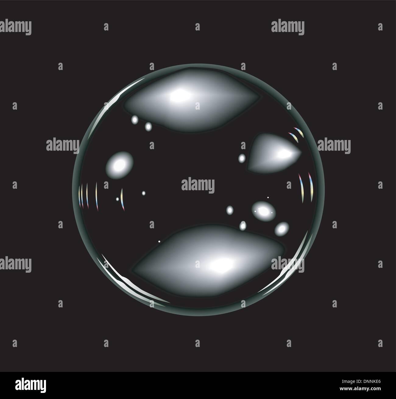 Vettore di bolle di sapone su sfondo nero. Nessuna trasparenza e gli effetti. Immagini Stock