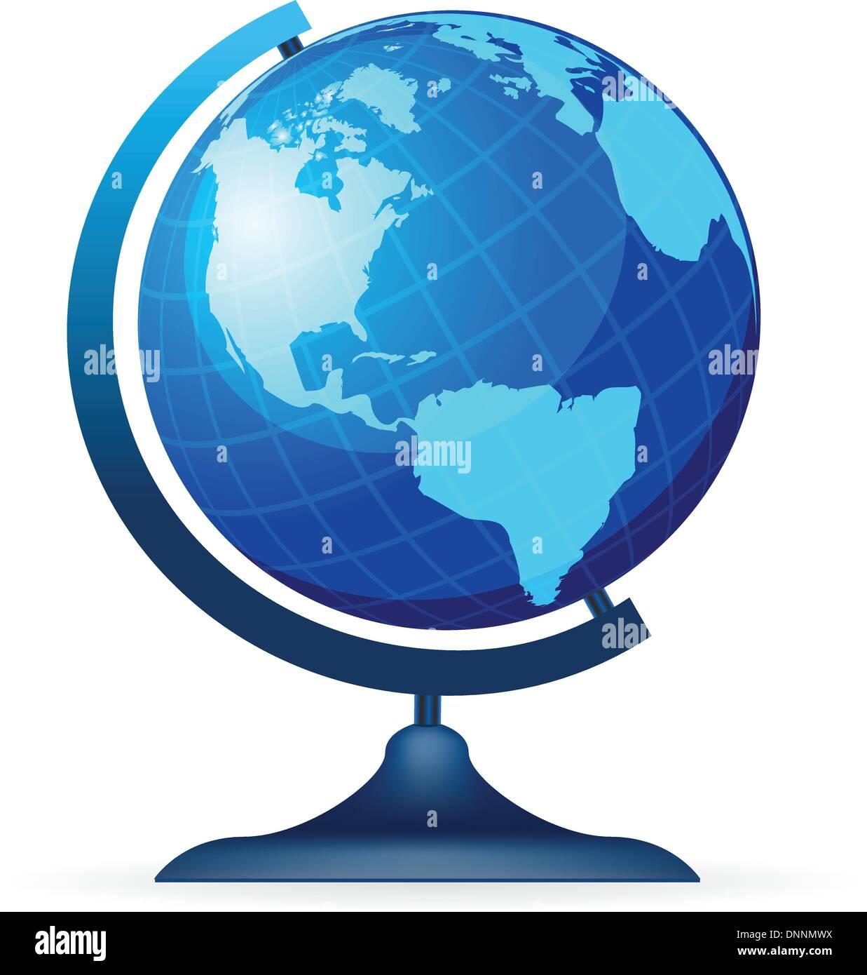 Globo terrestre isolato su uno sfondo bianco Immagini Stock
