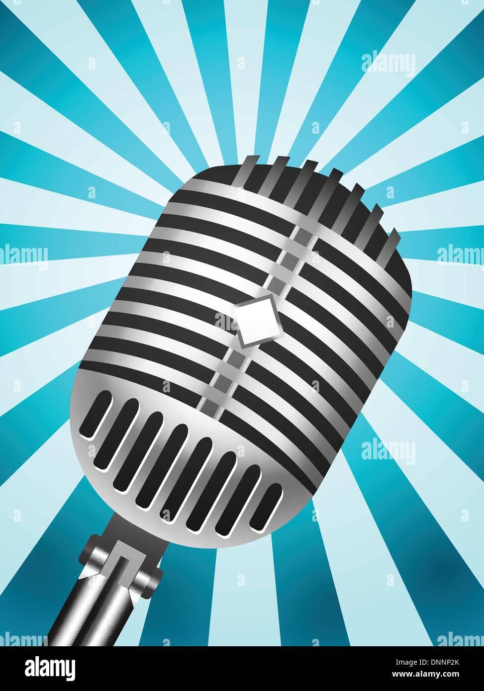 Microfono classico su sfondo rigato. Illustrazione Vettoriale Immagini Stock