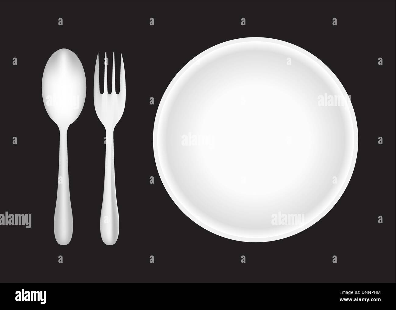 Piastra, forchetta, cucchiaio e Immagini Stock