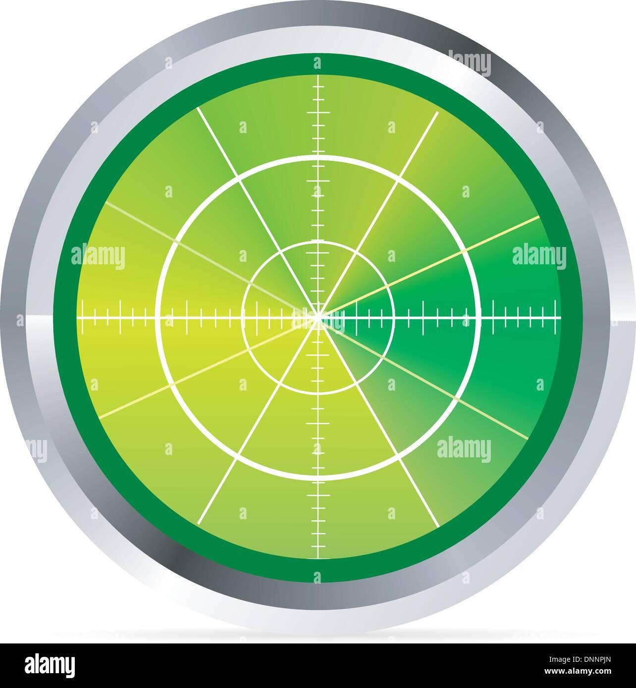 Illustrazione del radar o monitor per oscilloscopio Immagini Stock