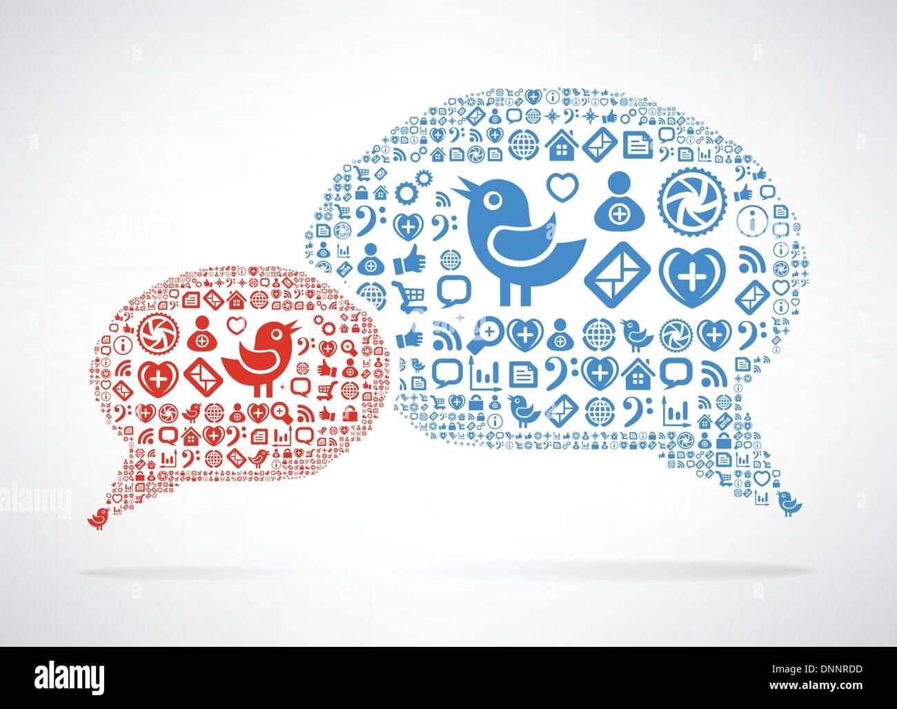 Social Media concetto. Icona a forma di nuvola in forma di discorso bolla Immagini Stock