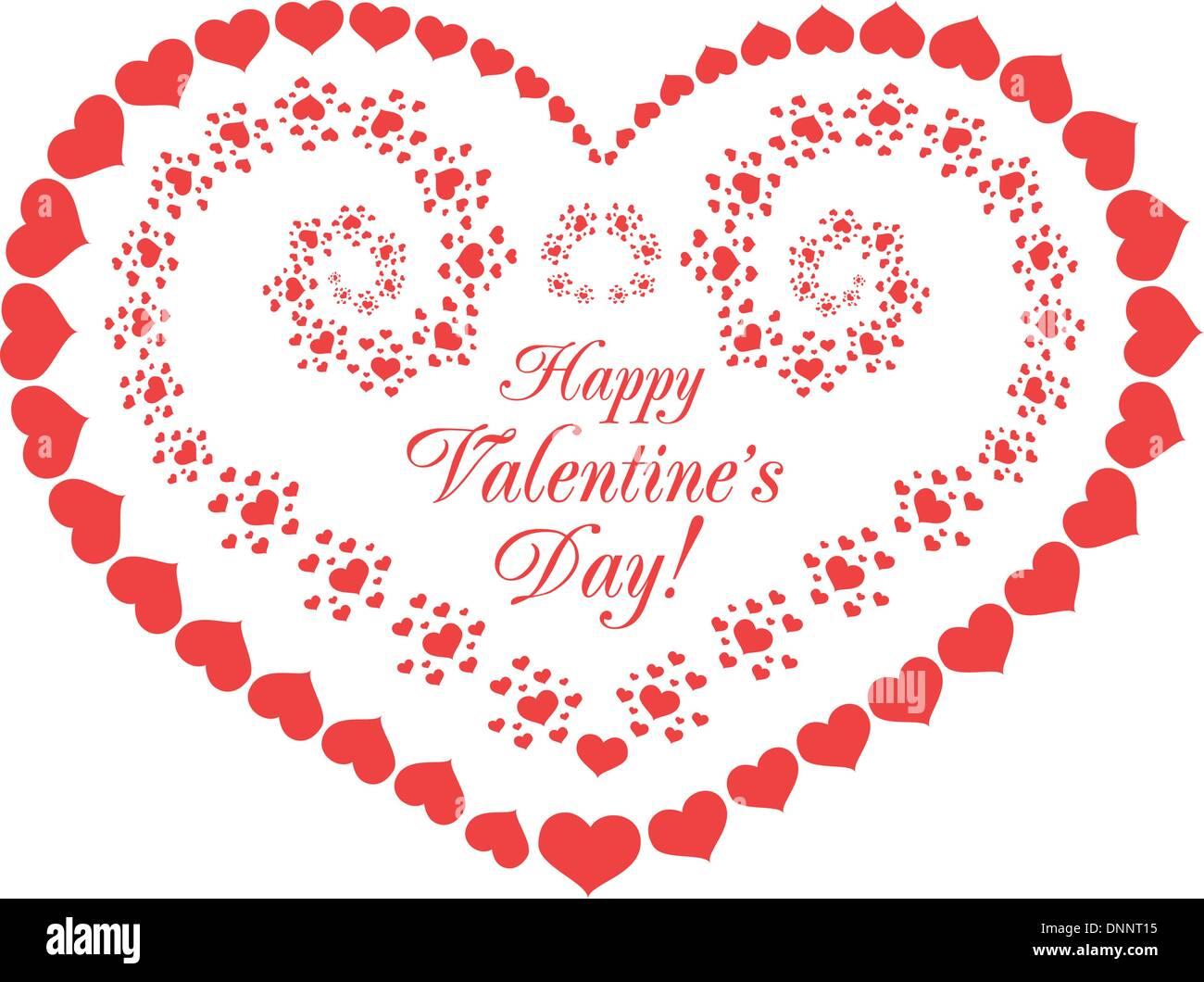 Il giorno di San Valentino sfondo vettoriale con cuori su bianco Immagini Stock