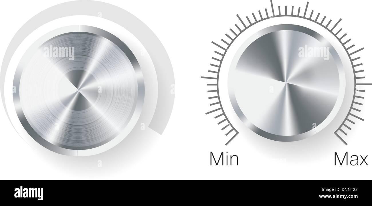 Per il controllo del volume del vettore in acciaio con texture in metallo isolato su sfondo bianco. EPS v.8.0 Immagini Stock