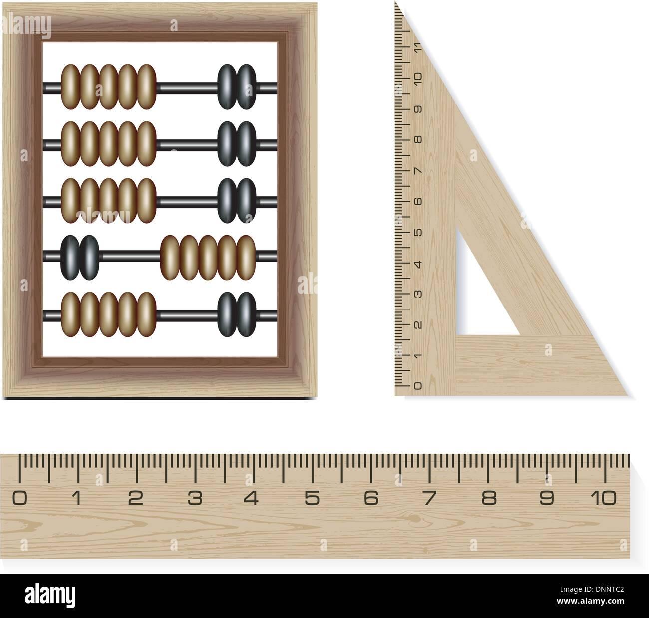 Abacus in legno e righelli isolati su sfondo bianco Immagini Stock