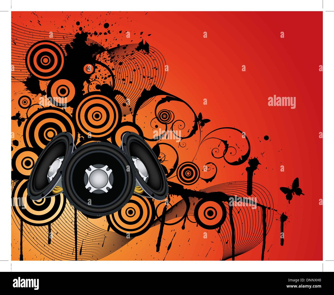Grunge musicale di sottofondo. EPS 10 vectorillustration wthout trasparenza. Immagini Stock