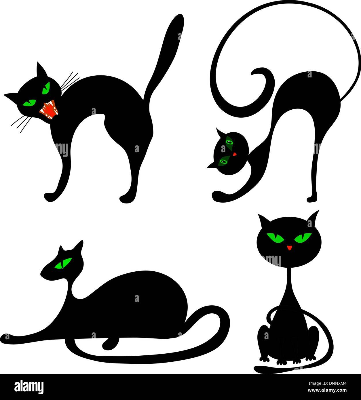 Set di halloween gatto nero con gli occhi verdi. Illustrazione Vettoriale. Immagini Stock