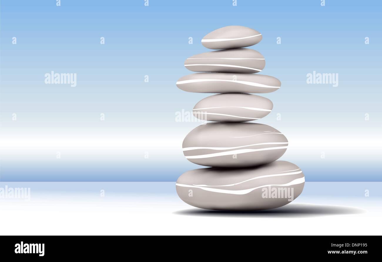 Illustrazione di pietre Zen su uno sfondo blu Immagini Stock