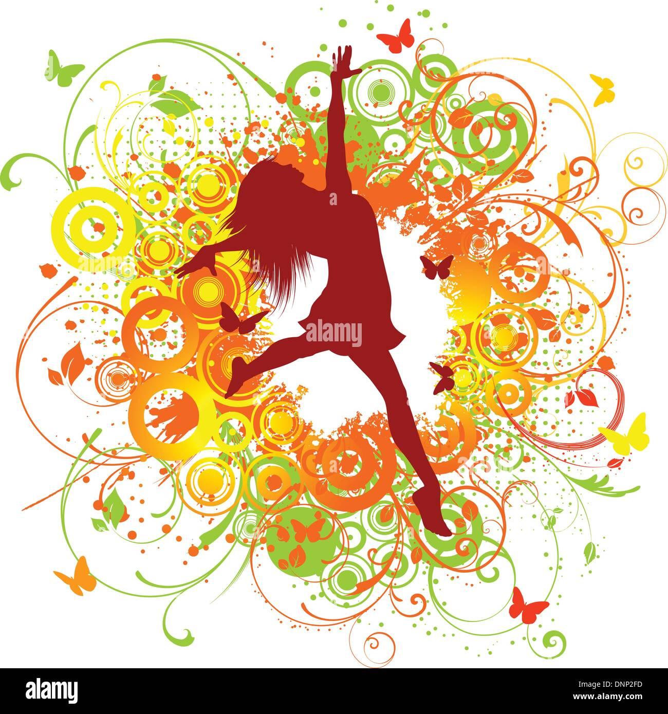 Silhouette di un felice femmina su uno sfondo floreale Immagini Stock
