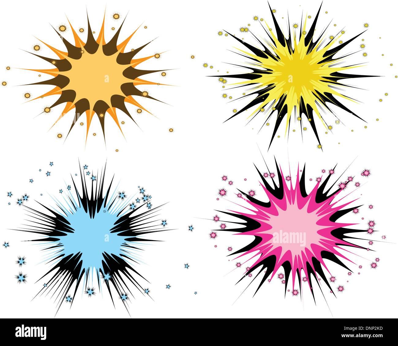 Varie starbursts Immagini Stock