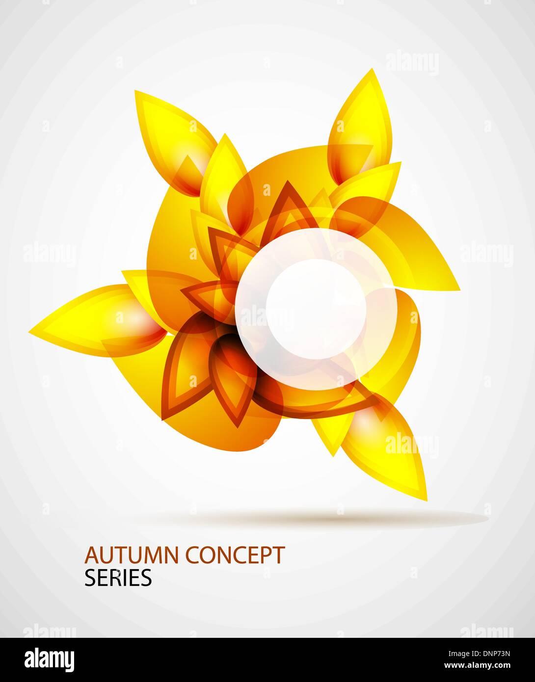Vettore autunno astratto concetto fatta di foglie di colore arancione Immagini Stock