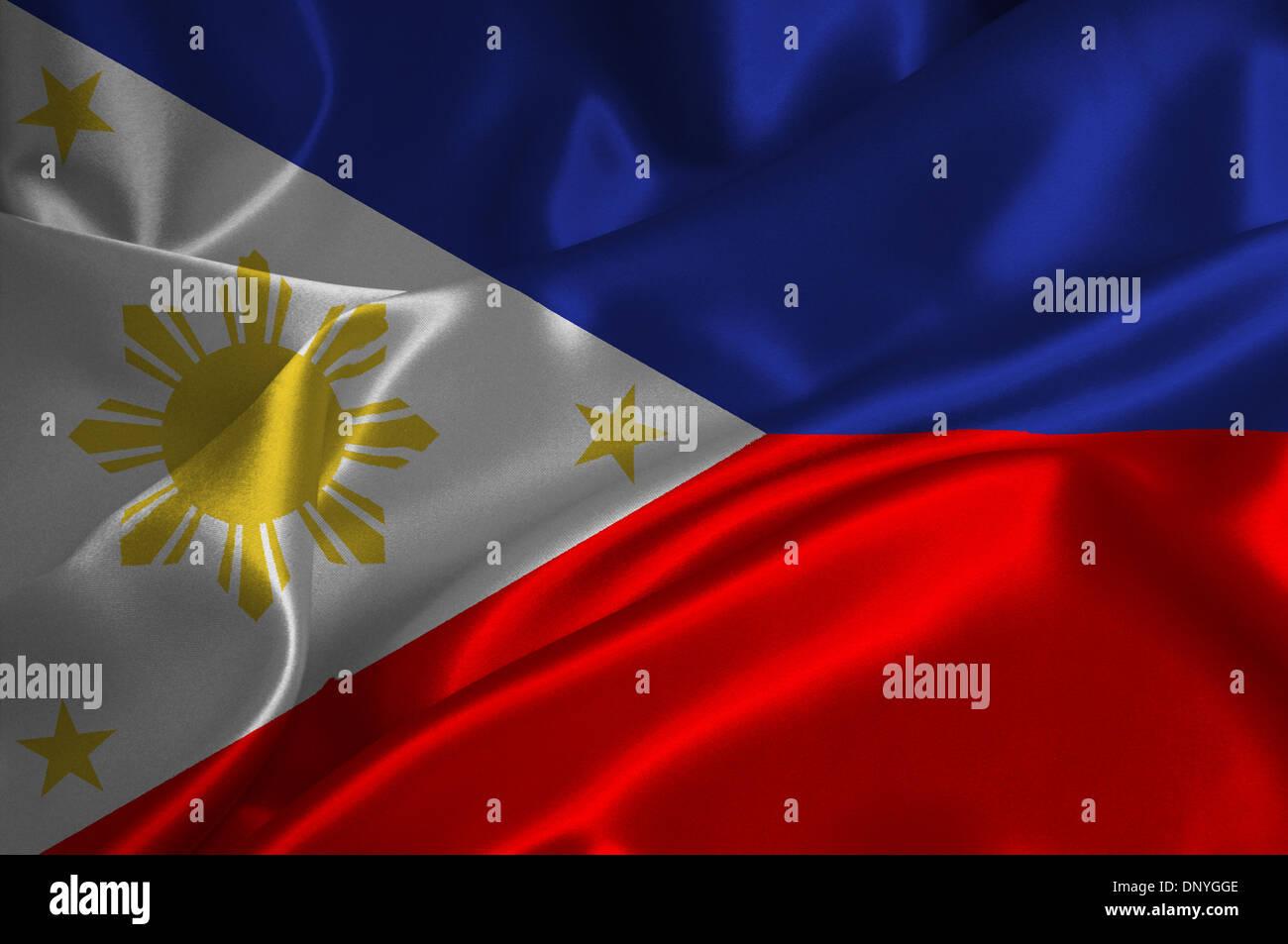 Filippine bandiera su raso texture. Immagini Stock