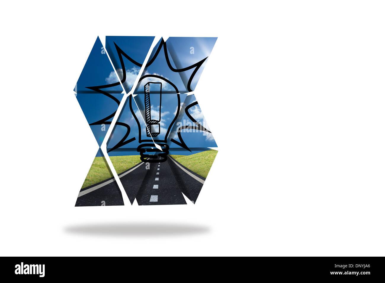 Punto esclamativo nel bulbo di luce sulla schermata astratto Immagini Stock