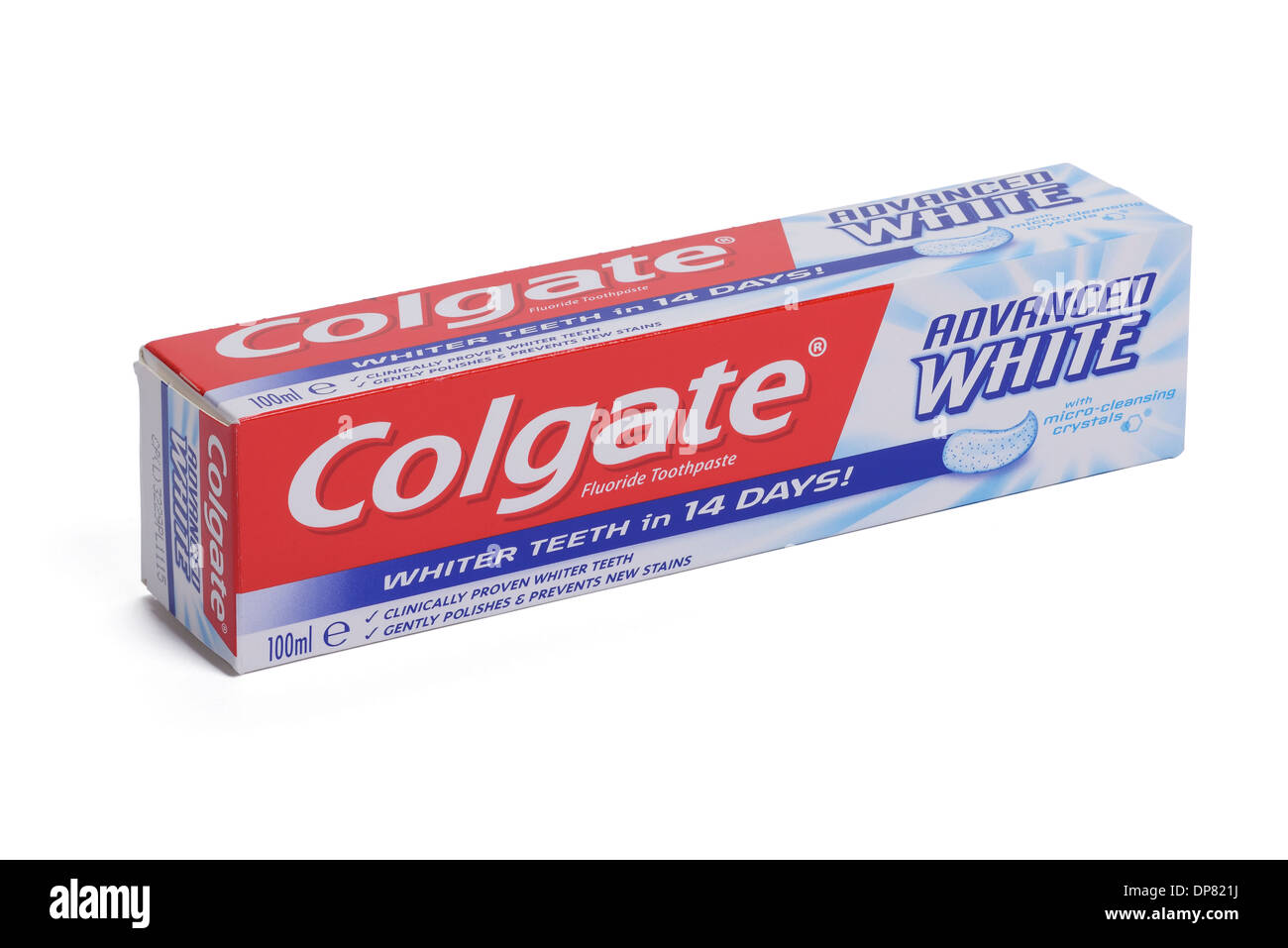Scatola in cartone della Colgate avanzato dentifricio bianco Immagini Stock