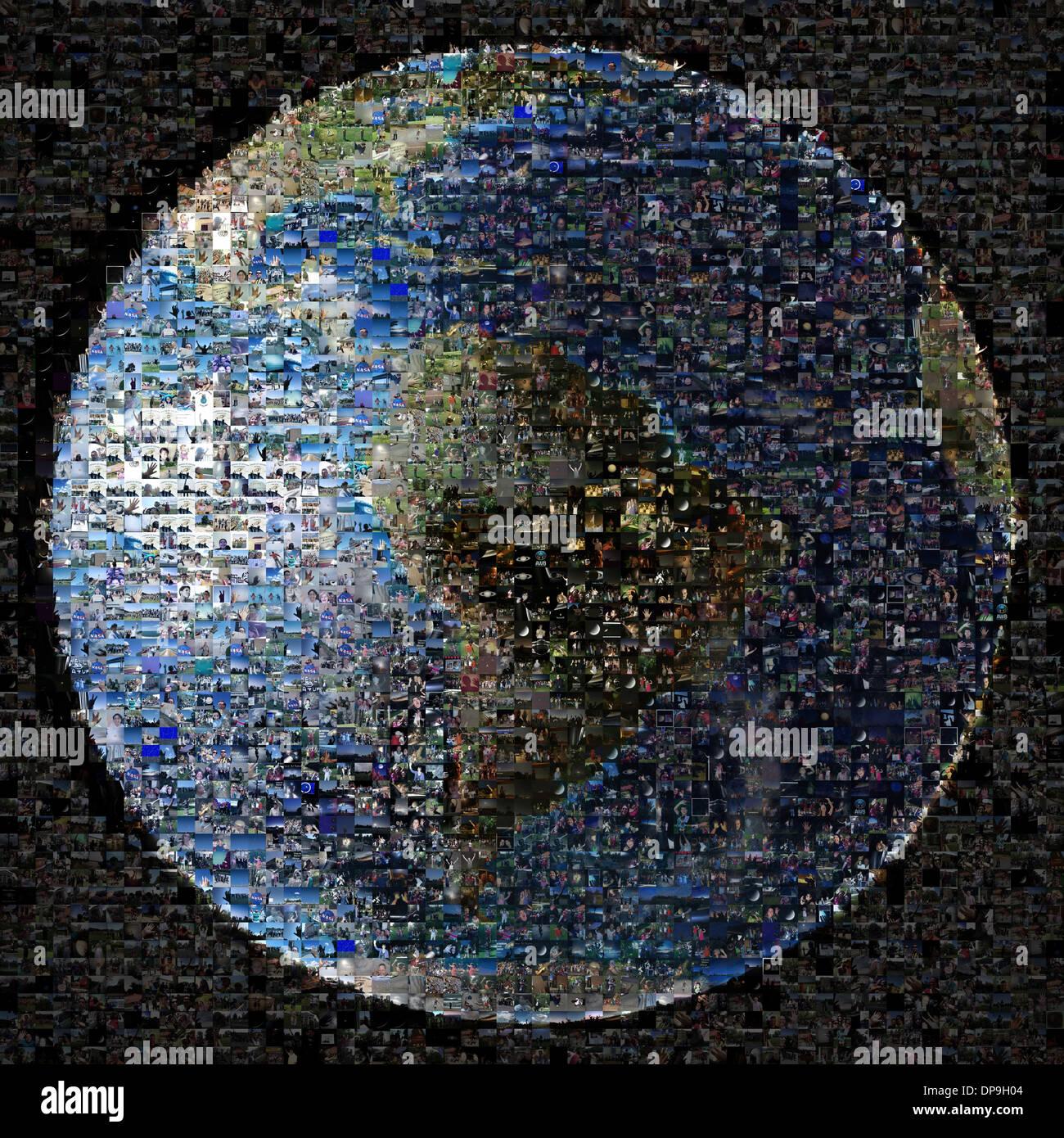 Composito di 1400 immagini come parte dell'onda a Saturno evento organizzato dalla NASA la missione Cassini Immagini Stock