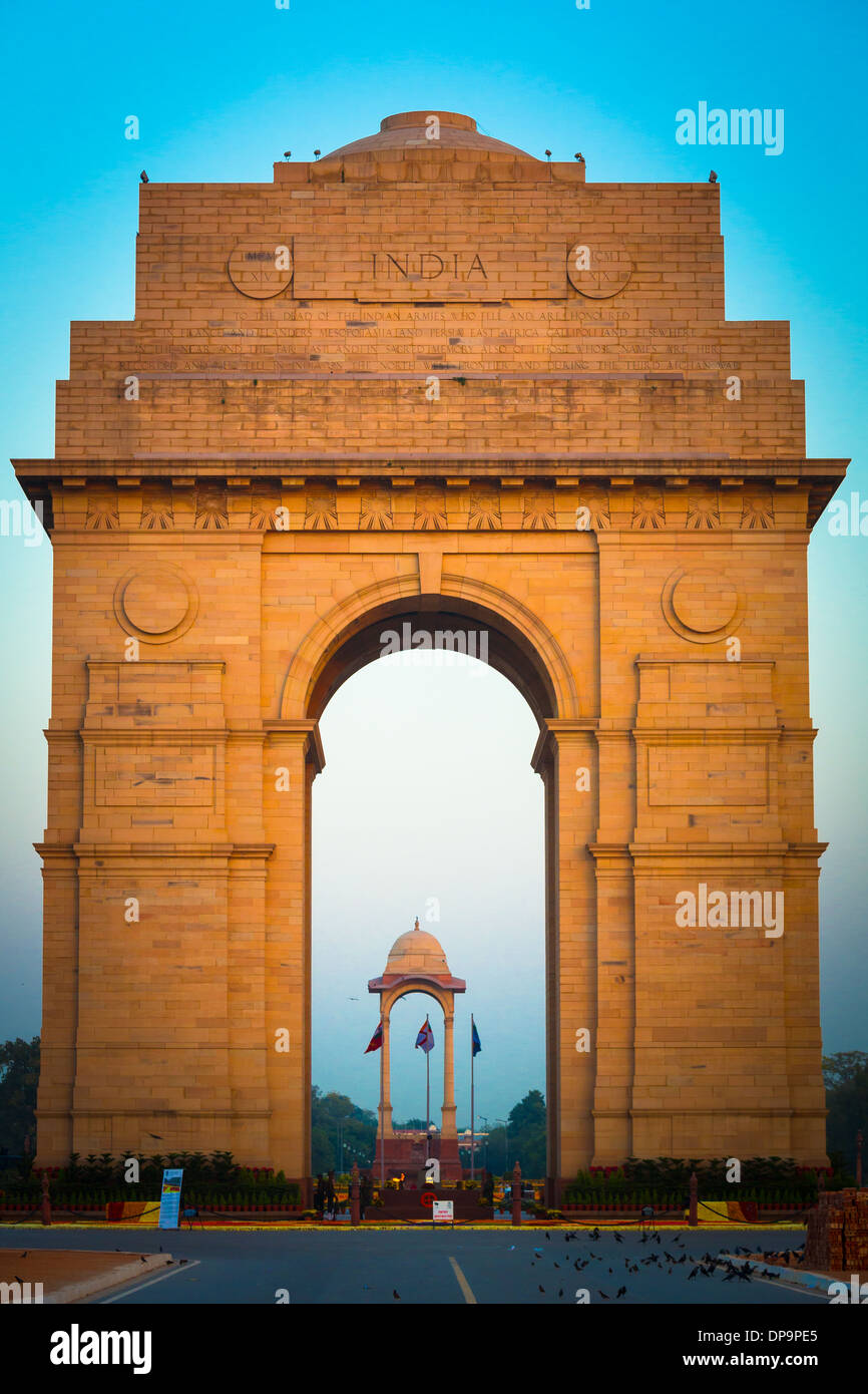 L'India Gate, situato nel cuore di New Delhi, è il monumento nazionale dell'India. Immagini Stock