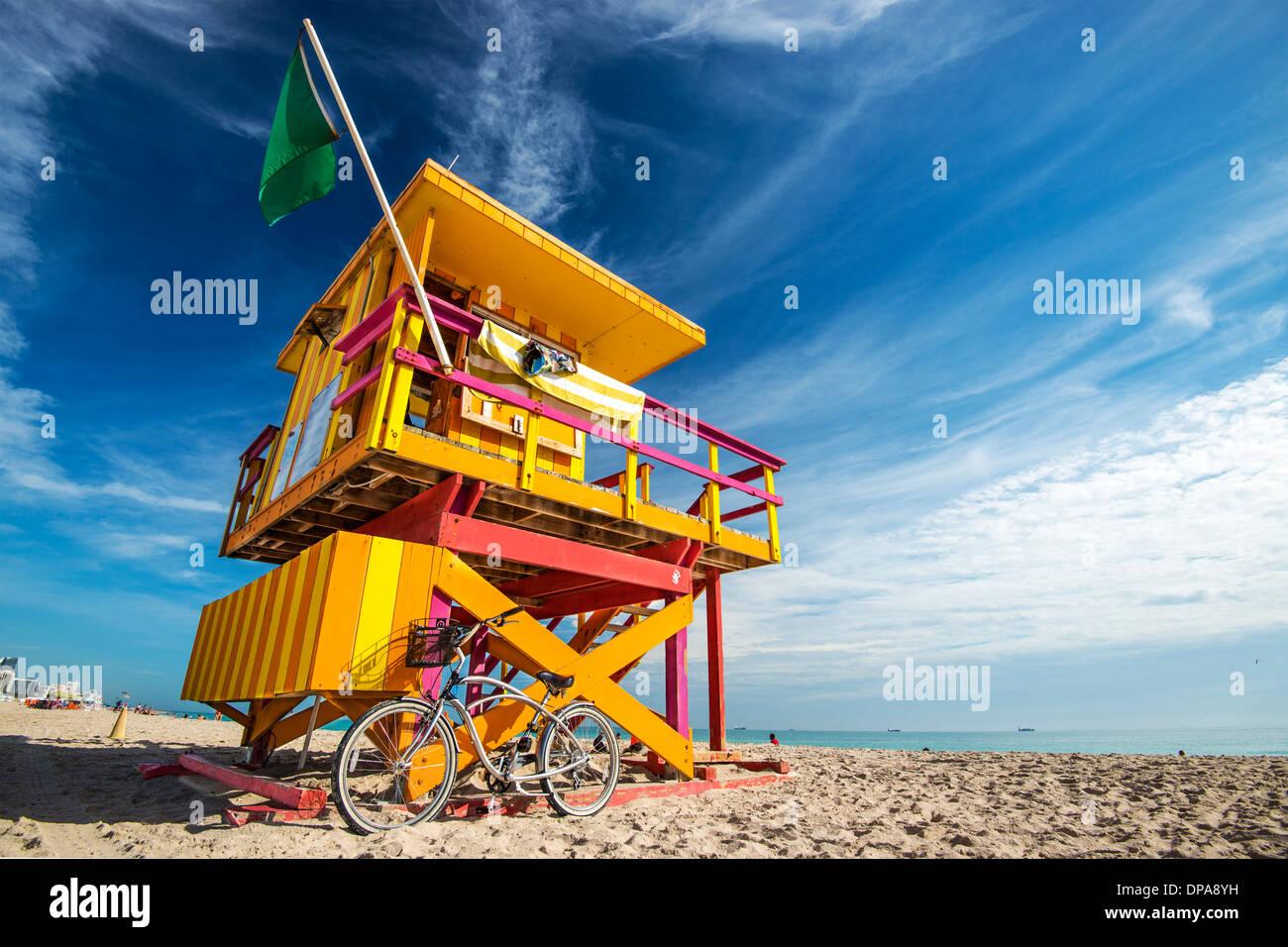 South Beach, Miami, Florida, Stati Uniti d'America lifeguard post. Immagini Stock