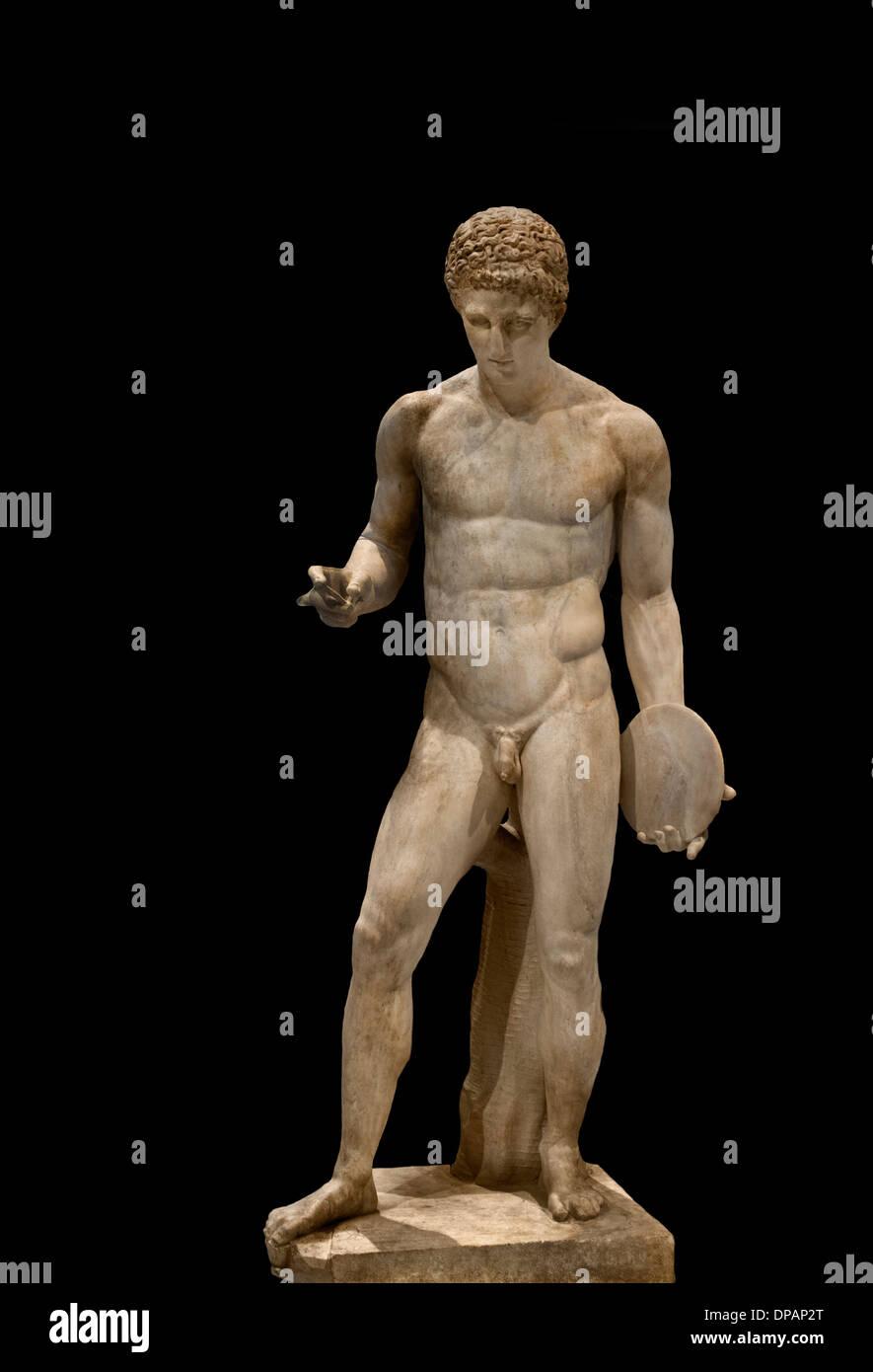 Atleta tenendo un discus 130-150 Romano la copia dell'annuncio di un 'discophore' del bronzo secondo Naucydes 400 BC Greco in Grecia Immagini Stock