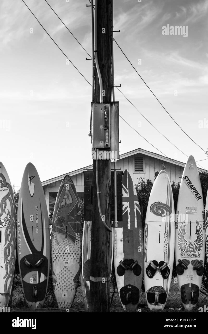 Immagine in bianco e nero di una tavola da surf recinzione al para, Maui, Hawaii Foto Stock