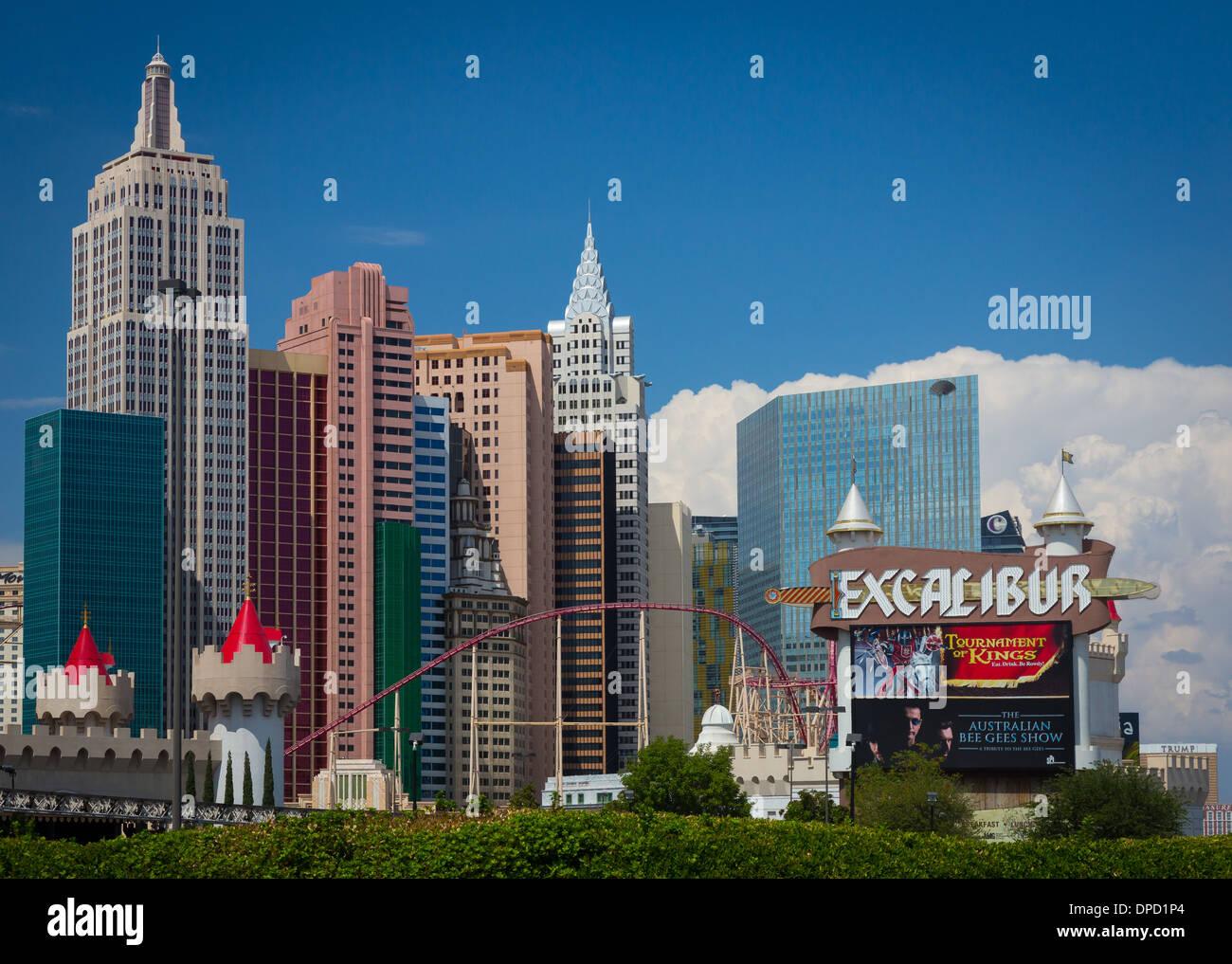 Alberghi e casinò lungo Las Vegas Boulevard di Las Vegas, Nevada Foto Stock