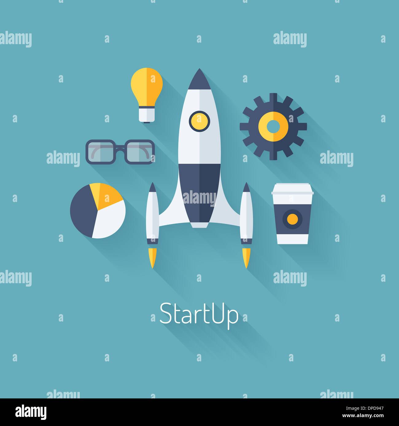 Design piatto illustrazione moderno concetto di nuovo business di avvio del progetto di sviluppo e il lancio di un nuovo prodotto dell'innovazione Immagini Stock