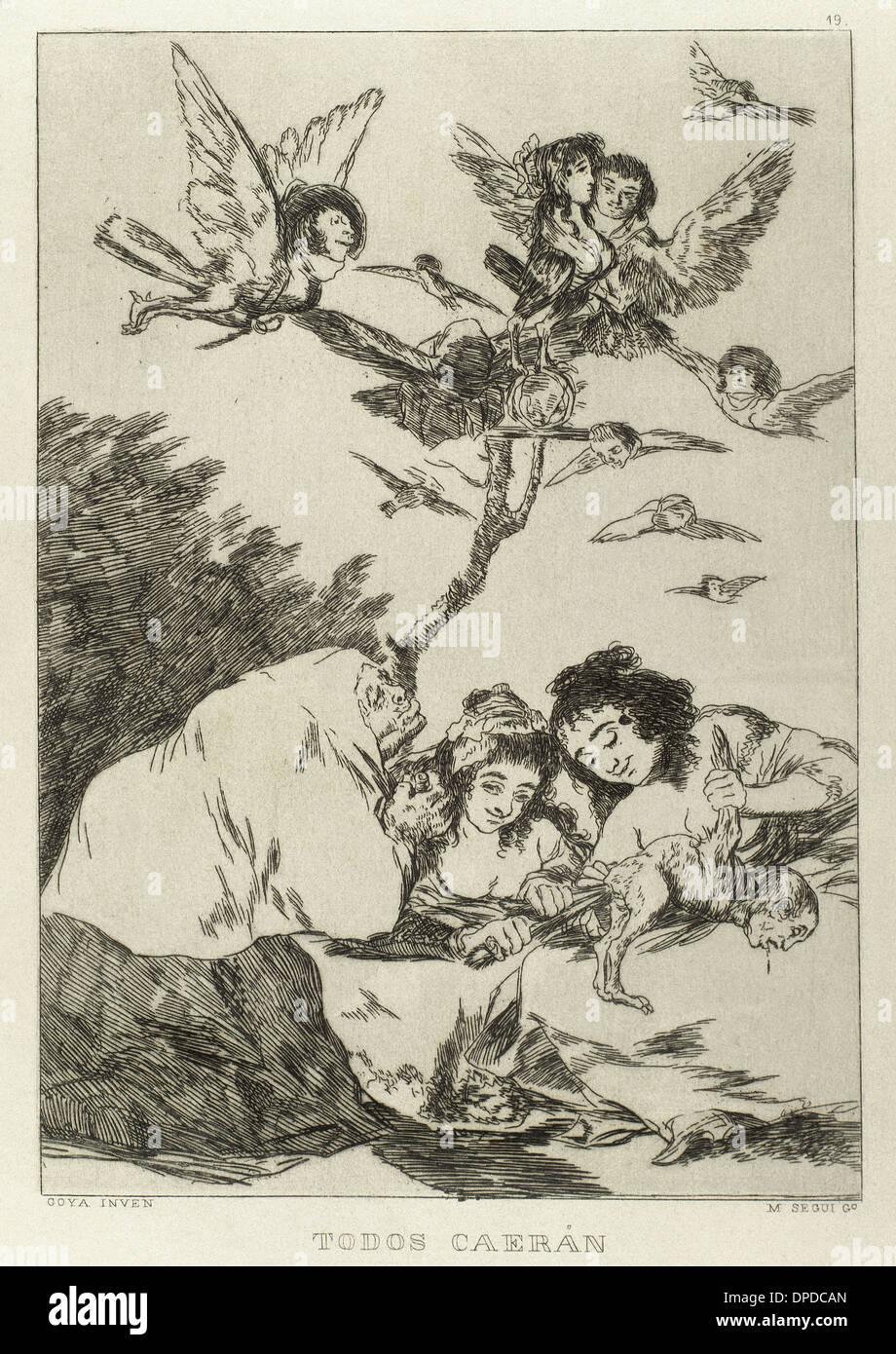 Goya (1746-1828). Lo spagnolo pittore e incisore. Los Caprichos. Todos caeran (cadono tutte). Numero 19. La puntasecca. Immagini Stock