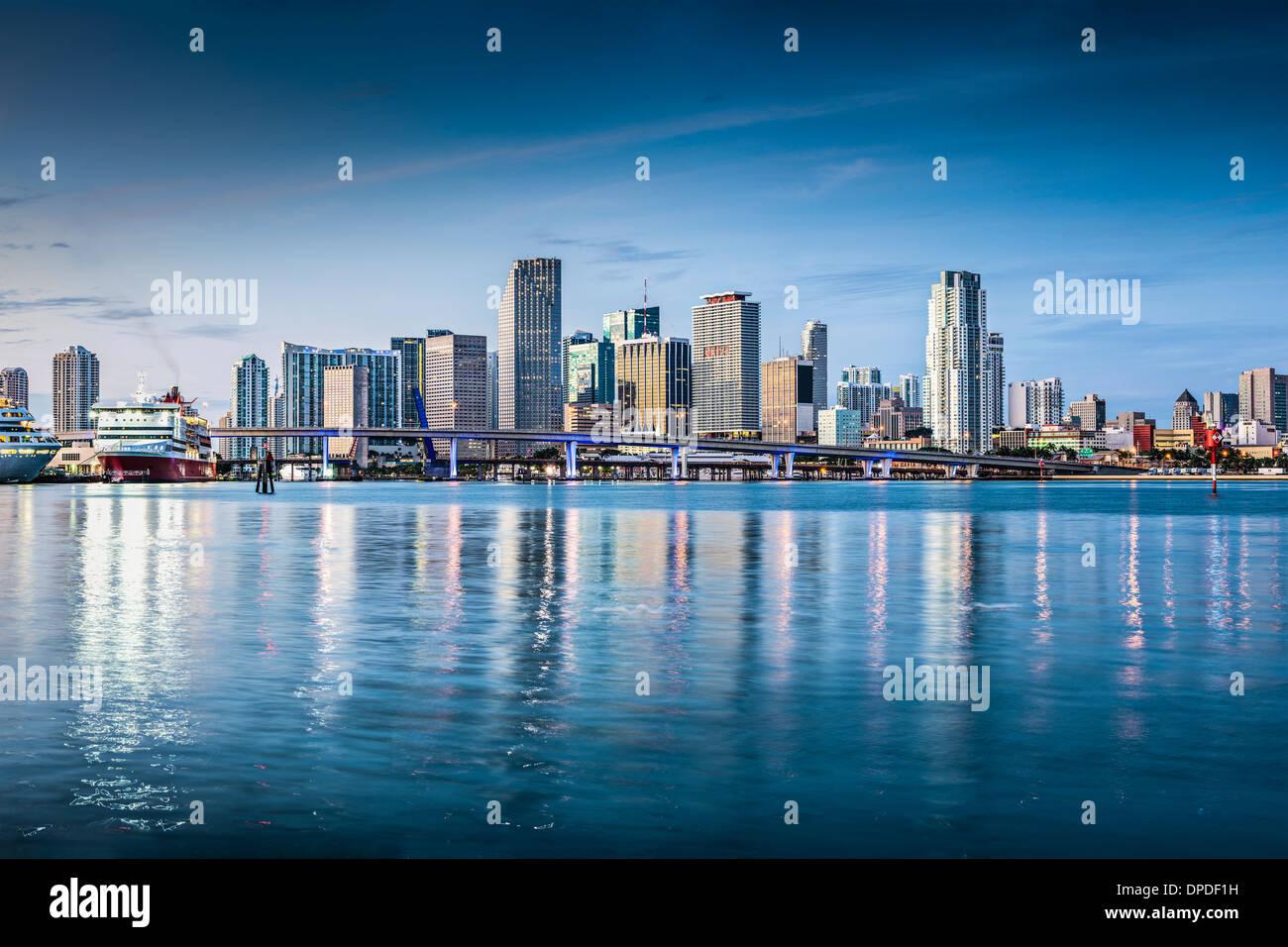 Miami, Florida, Stati Uniti d'America skyline del centro. Foto Stock