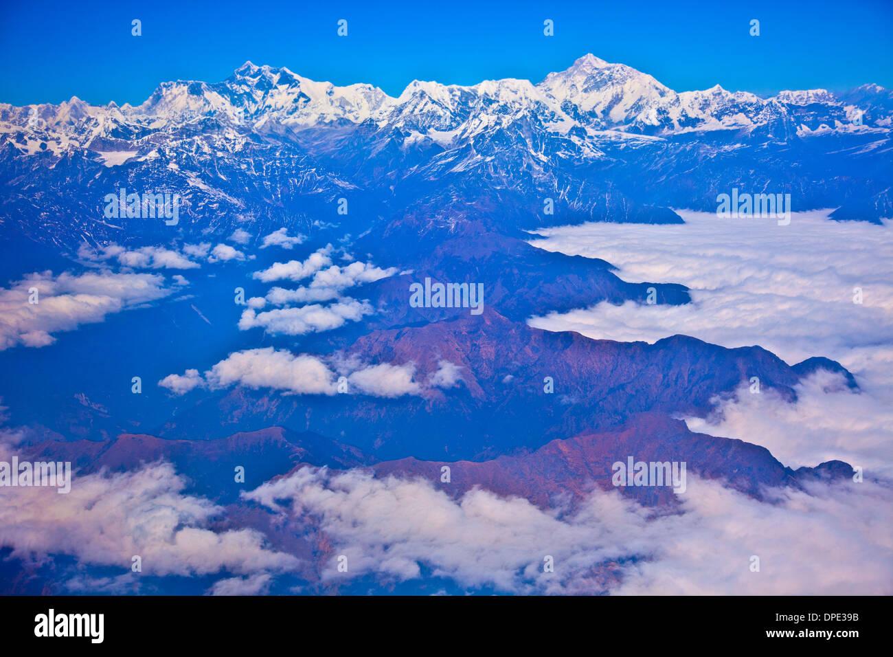 Mt. Everest e vette circostanti, Sagamatha National Park, Nepal. Più alta del mondo di montagna, l'Himalaya Immagini Stock