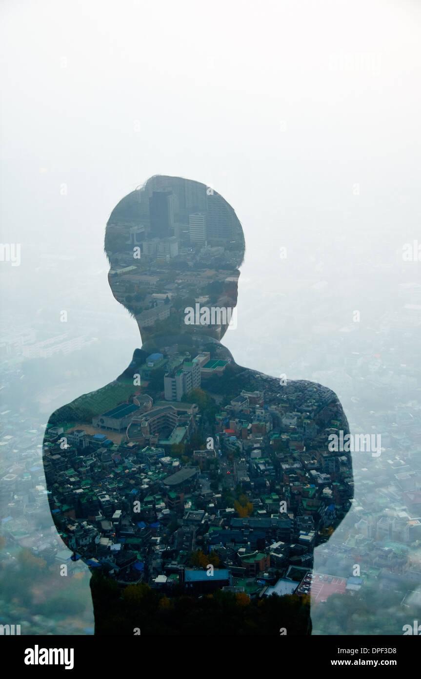 Imprenditore e Hong Kong cityscape, immagine composita Immagini Stock
