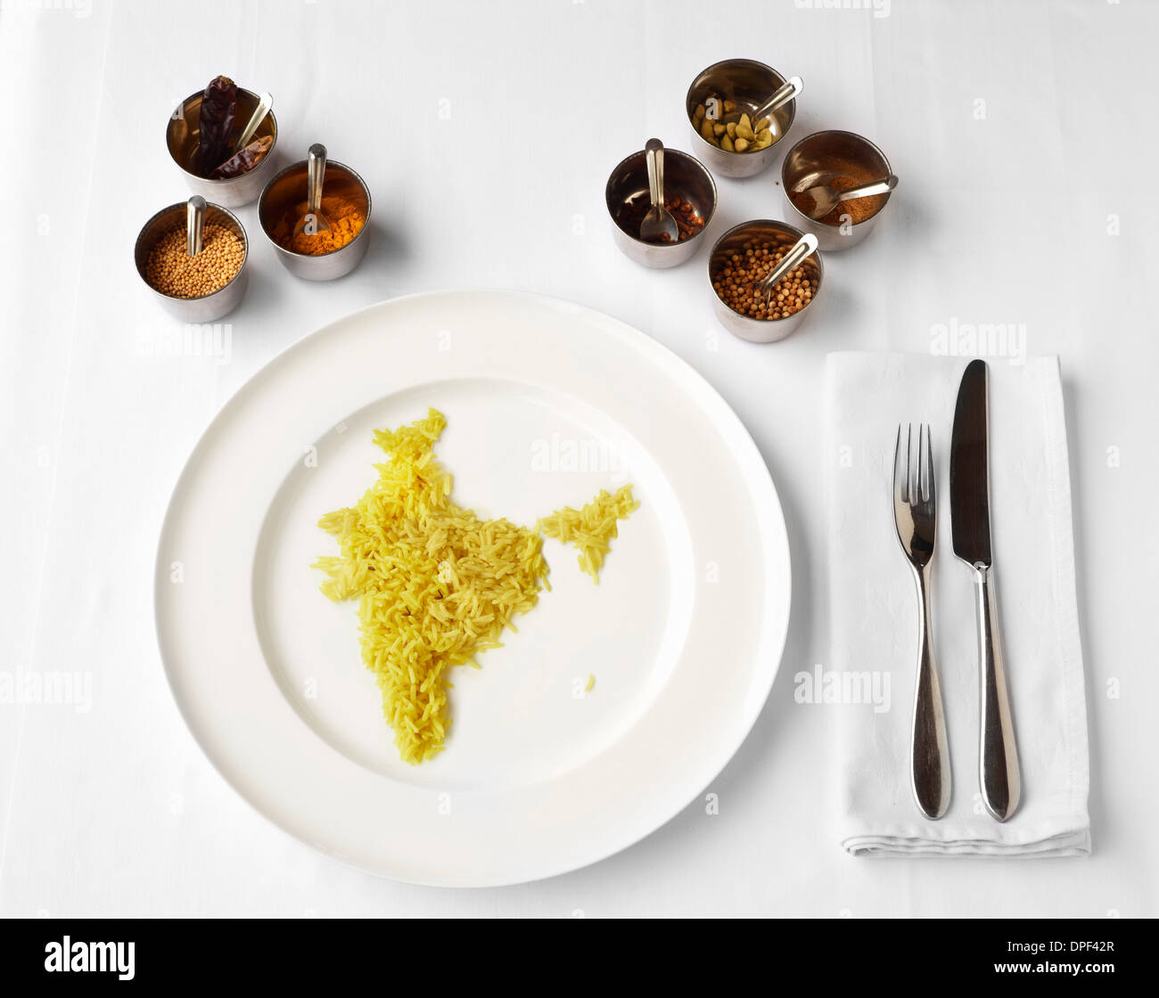Curcuma riso in forma di India Immagini Stock