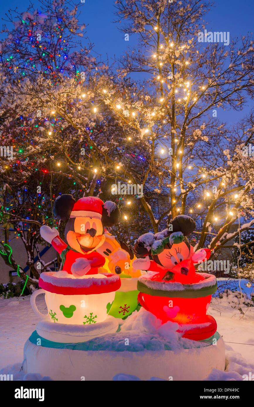 Topolino, Minnie e Pippo, display di Natale, Foto Stock