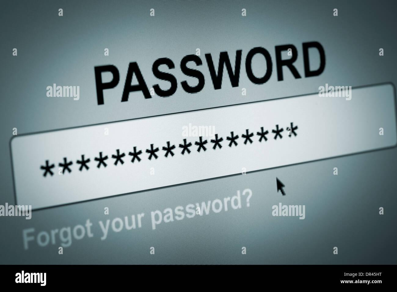 Primo piano della casella Password nel browser Internet Immagini Stock