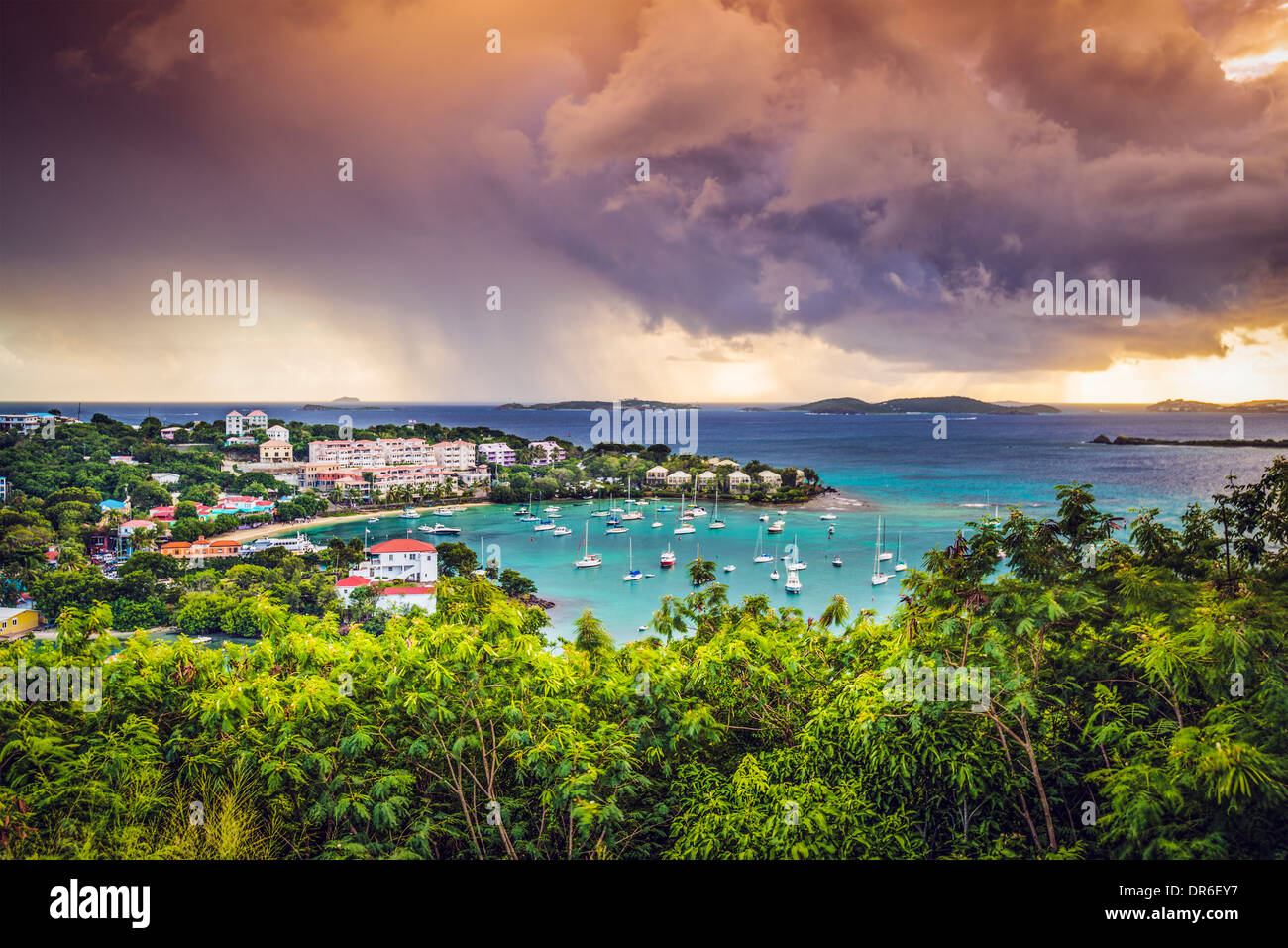 Cruz Bay St John, Stati Uniti Isole Vergini. Immagini Stock